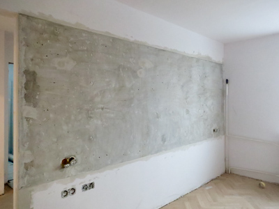 gotowe: fragment betonowej ściany w pracowni